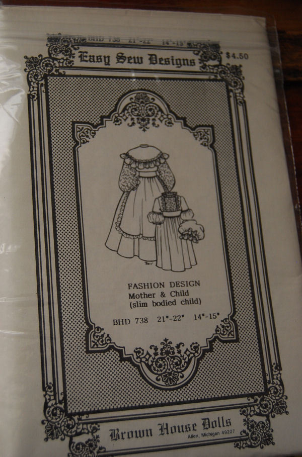 "Pattern BHD 738 Two Antique Doll Dresses 21"", 14"" doll clothes"