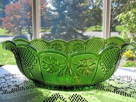 Antique Double Dahlia W/Lens Emerald Green Oval Bowl - $30.00