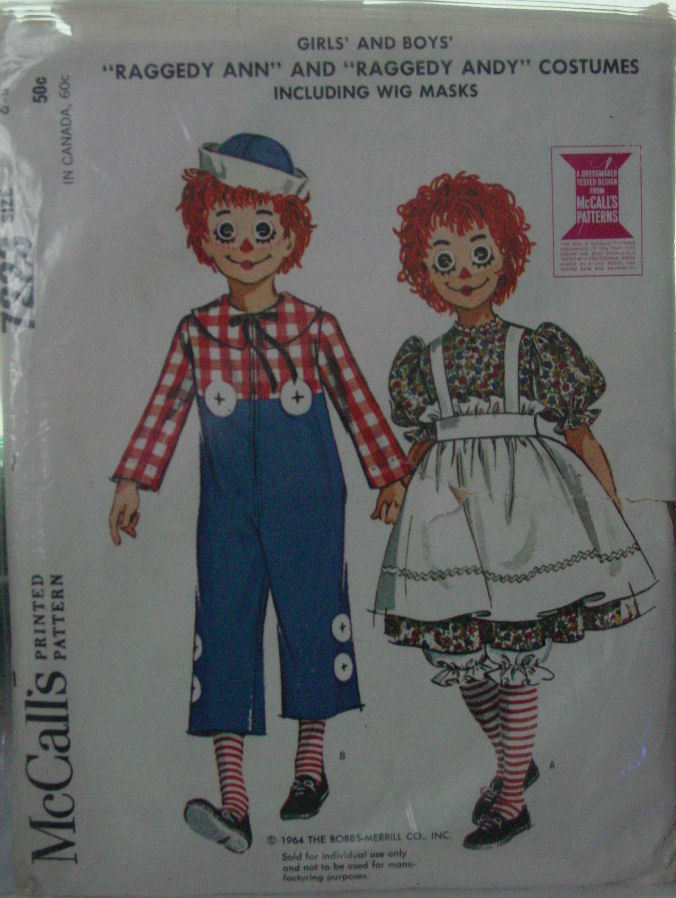 Pattern 7223 Child's Raggedy Ann, Andy Costume 6-8 (used)