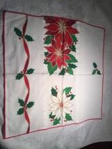 Vintage Lot of 8 Christmas Napkins 16x 16 Washable Holly Poinsettia Ribbons - $16.78