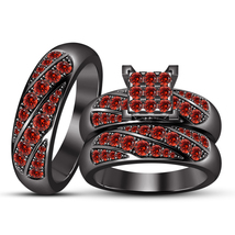 Black Gold Plated 925 Silver Red Garnet Engagement Ring & Wedding Band Trio Set - $144.47