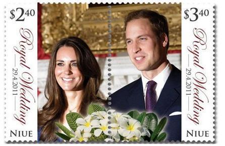 Royal Wedding Kate William split STAMP set NIUE MNH