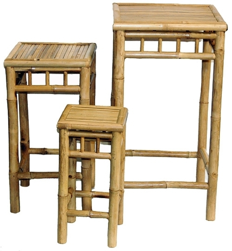 Primary image for Bamboo 3 Piece Nesting Tables/Plant Stands/ Accent Tables