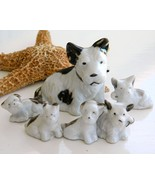Vintage Dog Set Figurine Japan Ceramic Porcelain Terrier Six - $19.95