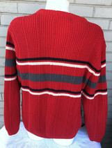 Chaps Ralph Lauren 1978 Red Cable Knit Sweater Medium Striped Mens Warm - $22.29