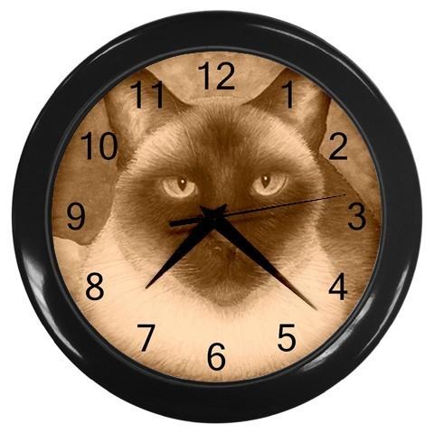 Black Wall Clock, art painting Siamese Cat 547 Sepia
