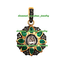2.10 Rose Antique Cut Diamond Emerald Victorian Silver Pendant Mother's Day Gift - $148.75