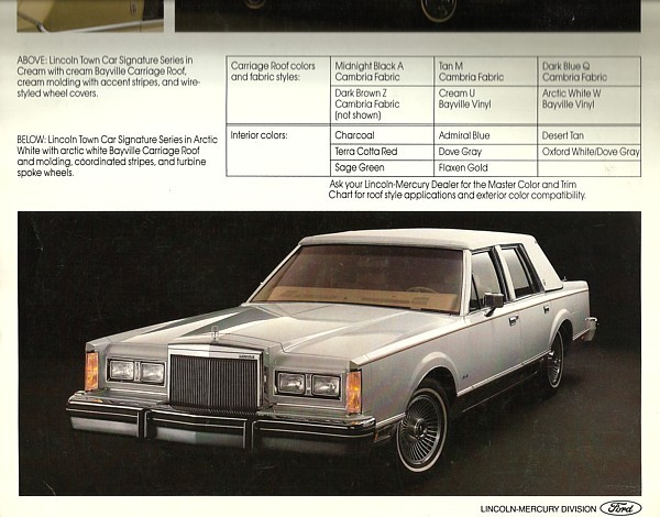 1983/1984 Lincoln TOWN CAR Carriage Roof sales brochure catalog US Signature