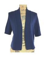 NEW Ralph Lauren Med Cardigan Sweater Navy Blue Knit Crop Open Front Sho... - $19.30