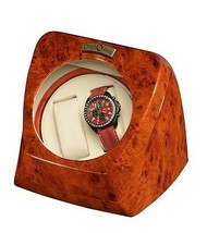 Diplomat Burlwood Double Dual Watch Winder Cream Leather Japanese Mabuch... - $69.95
