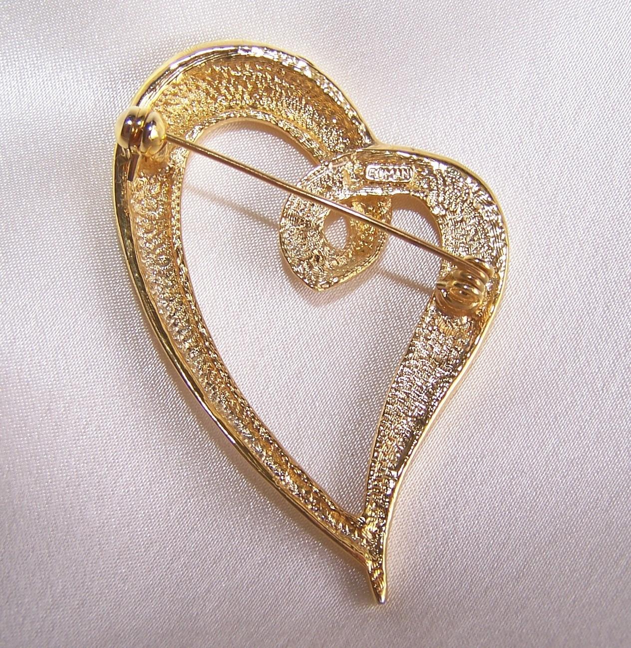 Valentine Rhinestone Heart Brooch Designer Signed