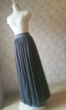 DARK GRAY Maxi Tulle Skirt For Wedding Dark Grey Wedding Bridesmaid Skirt,wd398 image 6
