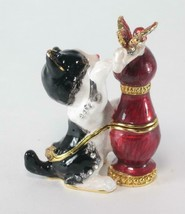 Kitty Cat Shaped Trinket Jewelry Box with Matching Pendant & Necklace - $29.65