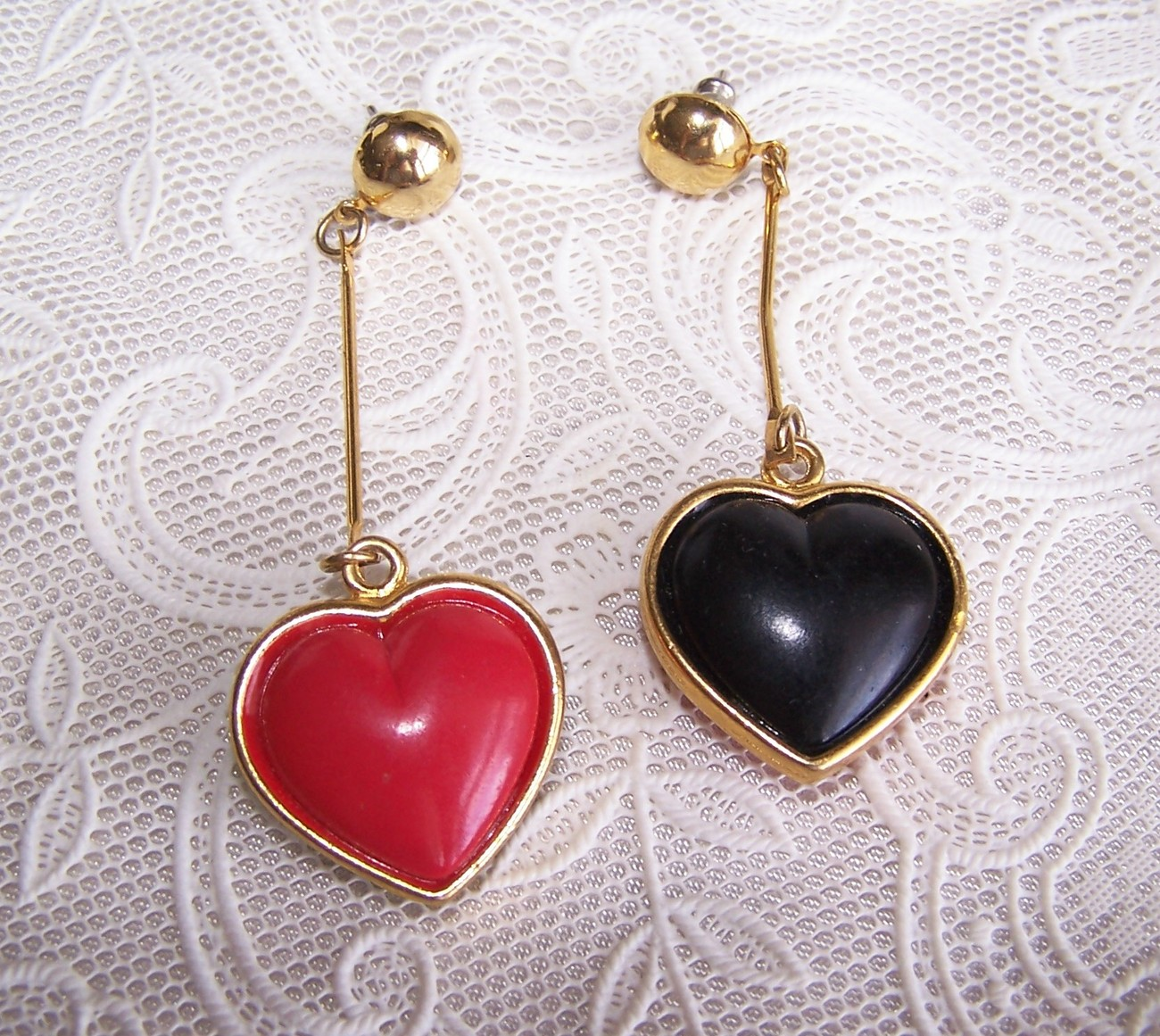 Vintage Valentine Puffy Heart Red & Black Pierced Earrings
