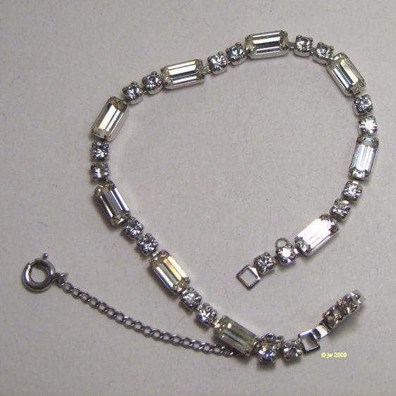 Vintage Weiss Clear White Rhinestone Bracelet - Retro, Vintage 1930s ...