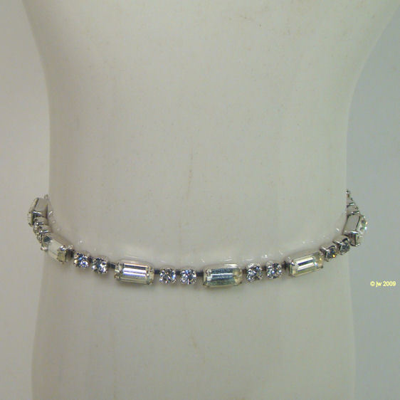 Vintage Weiss Clear White Rhinestone Bracelet