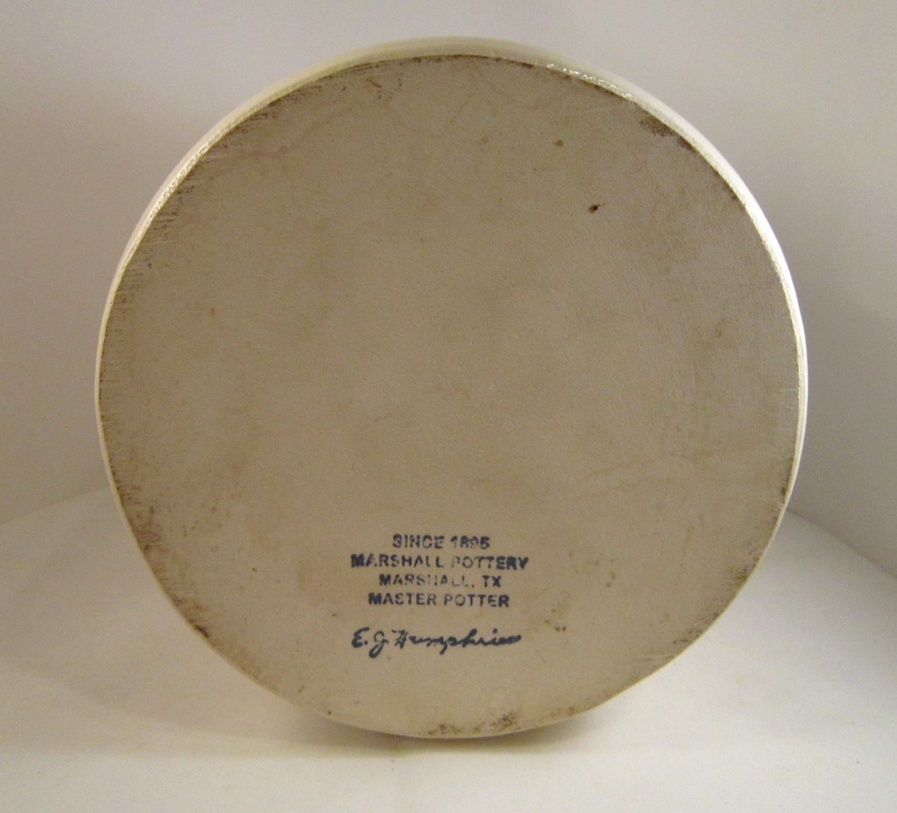 Marshall Pottery Gallon Jug, Handmade Texas Stoneware, Blue Stripe