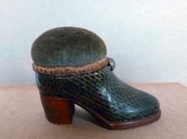 Antique American Folk Art Sewing Pin Cushion Shoe circa 1920 -1930's - $145.00