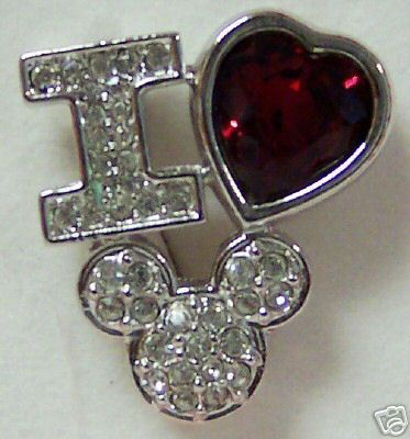 DISNEY I LOVE MICKEY SWAROVSKI CRYSTAL BROOCH PIN NIB