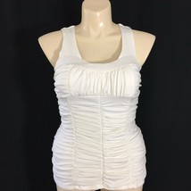 Large White Top Sexy Ruched Jersey Knit Key Hole Open Back Empire Bra Ta... - $9.95