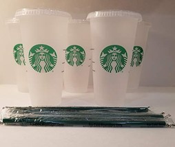 Starbuck 5 Pack Bundle - Reusable Frosted 24 oz Cold Cup with Lid and Green - $52.55