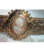 Antique Vintage Art Deco Shell Cameo Bar Brooch Gold Tone - $89.95