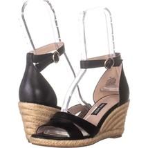 Nine West Jeranna Wedge Heel Espadrilles Sandals 596, Black Leather, 5 US - $32.63