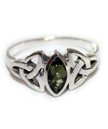 Faceted Moldavite Ring Size 12 Tektite 925 Sterling Silver Triple Knot Triquetra - £39.24 GBP