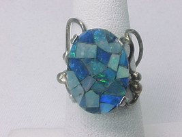 Vintage Artisan MOSAIC INLAID OPAL Ring in STERLING Silver - Size 6 - FR... - $175.00