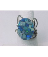 Vintage Artisan MOSAIC INLAID OPAL Ring in STER... - $175.00