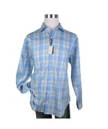 Peter Millar Crown Ease Plaid Sport Shirt Sz Medium Cotton Long Sleeve N... - $64.30