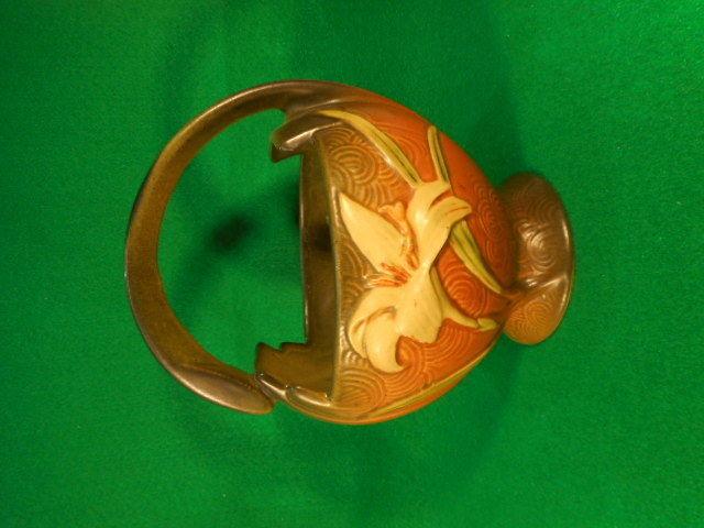 """Vintage Roseville Zephyr Lilly Brown Green Handled Basket 393-7"""""""