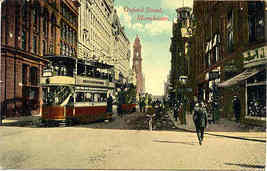 Manchester Oxford Street Trolley vintage Post Card - $6.00