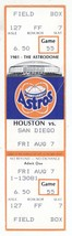 San Diego Padres @ Houston Astros 8/7/81 Phantom Ticket! 1981 Strike - $2.96