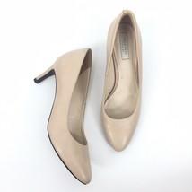 Women Cole Haan Size 5.5B Leather Almond Toe Slip On Pumps Nude Beige Stiletto - $19.62