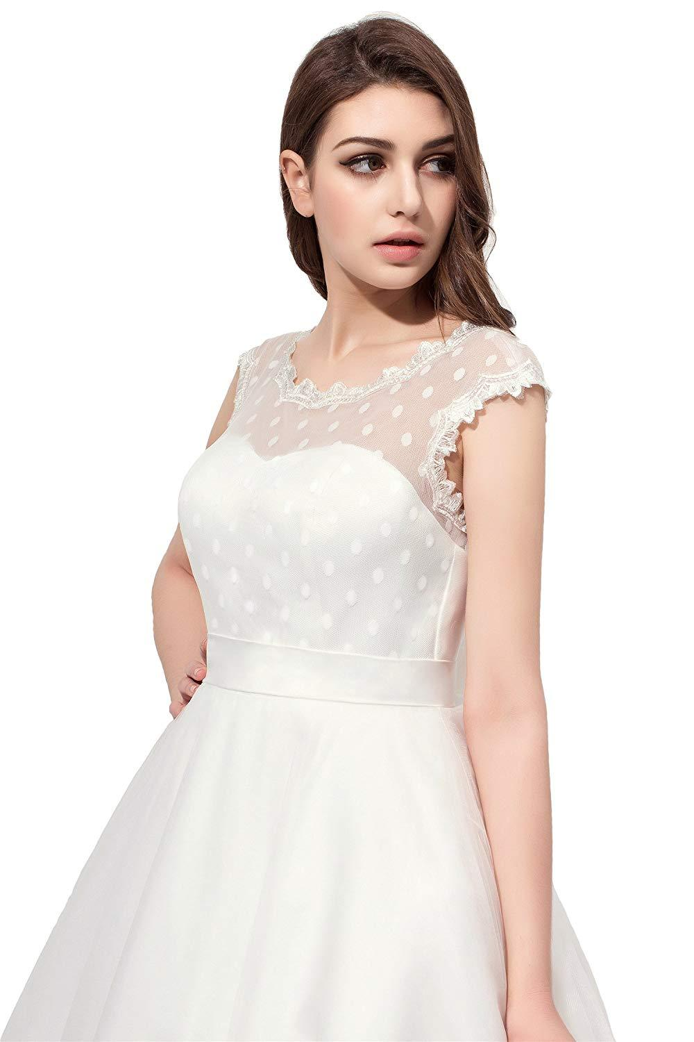 Vintage 1950s Style Polka Dotted Tea Length Little Wedding Dress Bride Gowns