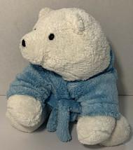 Bath And Body Works Bernice Polar Bear Plush Blue Robe Soft Stuffed Animal Rare - $18.69