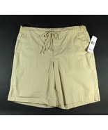 "RALPH LAUREN Size L 12 14 Khaki Drawstring Shorts 10"" Inseam Knit Waist - $21.99"