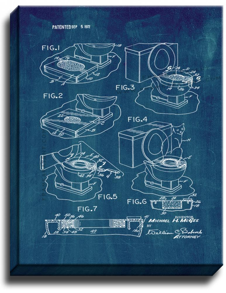 Primary image for Toilet Training Assembly for Cats Patent Print Midnight Blue on Canvas