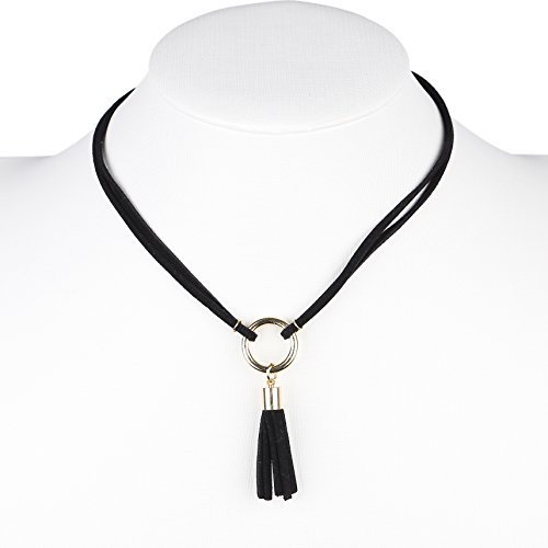 Primary image for UE- Trendy Gold Tone Jet Black Faux Suede Designer Choker Necklace with Tassels