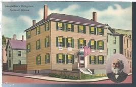 Portland Maine ME Longfellow's Birthplace Postcard Linen Colourpicture - $3.34