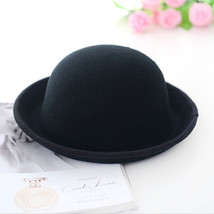Vintage Women Girls Wide Brim Wool Felt Bowler Fedora Hat Floppy Cloche ... - $9.53