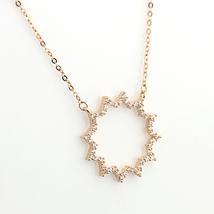 UE- Rose Tone Designer Sun Burst Pendant Necklace With Swarovski Style Crystals image 3