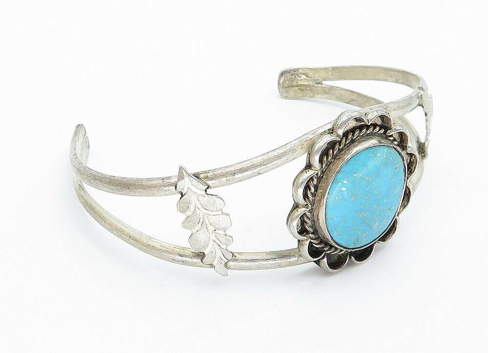 925 Sterling Silver - Vintage Turquoise Leaf Detail Twist Cuff Bracelet - B5959