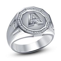 White Gold Finish 925 Silver Round Cut Diamond Initial A-Z Men's Ring Free Shipp - $84.05