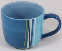 Starbucks 2008 Blue Green Black Striped Coffee Cup Mug 16 ounce NEW - $41.99