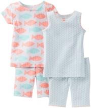Carter's Baby Girls' 4 Piece Printed Cotton Set (Baby) Fish 6 Months - $17.82