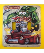 Ed Big Daddy Roth Rat Fink Metal Switch Plate Cars Double Toggle - $9.50