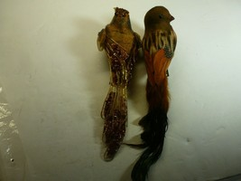 """Pair of Vintage Bird Ornament One with Real Feathers-Clip On.  8"""". - $15.83"""