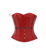 Red PVC Faux Leather Gothic Steampunk Bustier Waist Training Overbust Co... - $69.29